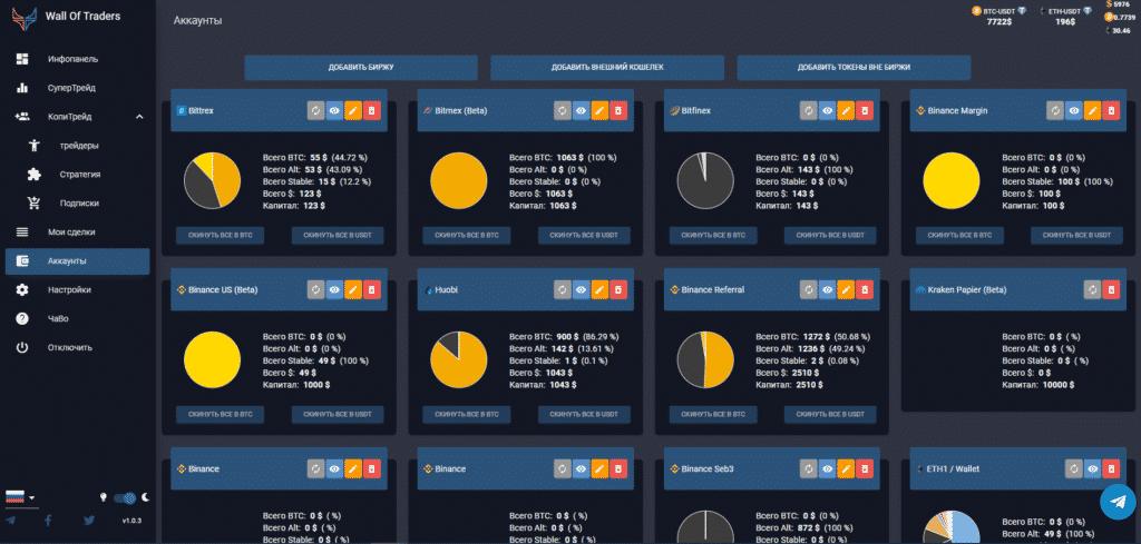 просмотр крипто-торговых счетов (биржи, кошельки, токены, монеты)