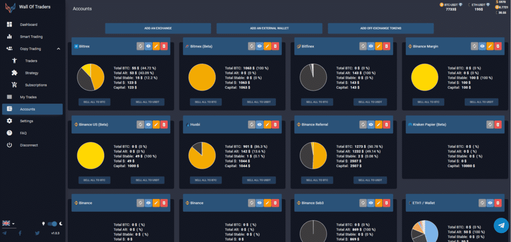 crypto trading account viewing (exchanges, wallets, tokens, coins)