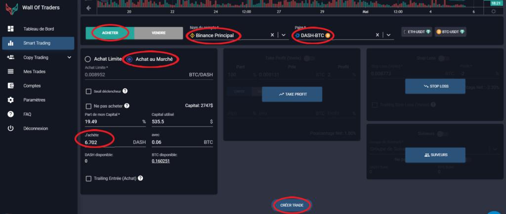 Convertir ses cryptos en achetant au marché sur Wall Of Traders