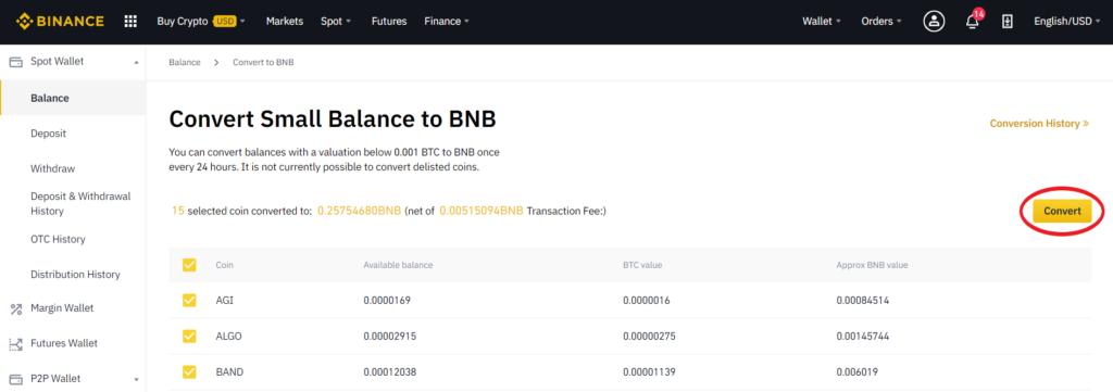 convert residues into binance coin BNB