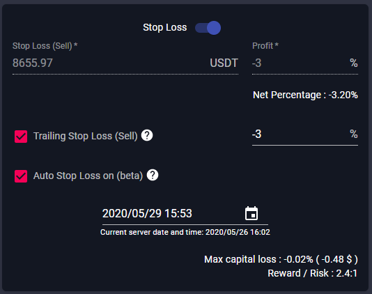 stop loss of smart trading