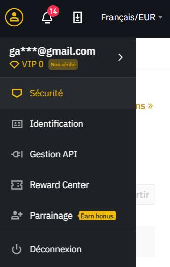 sécurité sur binance pour ajouter la double authentification 2FA
