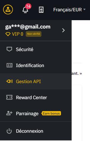 Création d'une clé API de trading sur Binance