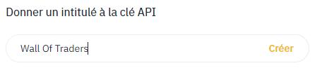 nom de la clé API