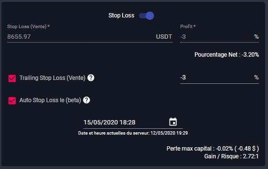 stop loss du smart trading