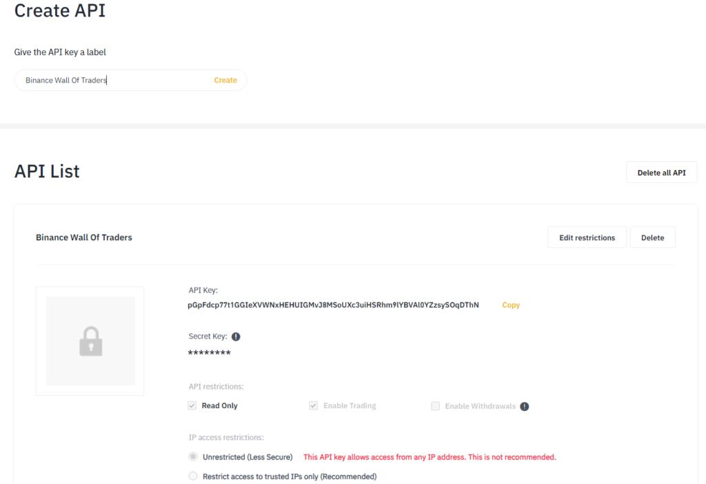 Creating an API key on Binance