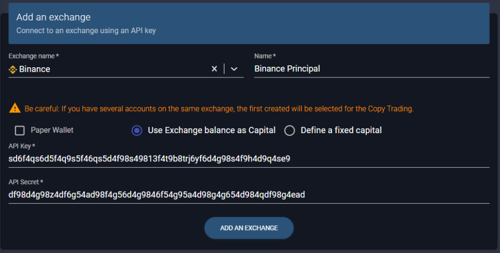 Link Binance to Wall Of Traders by API
