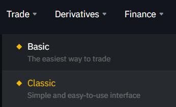 Binance Trade Classic