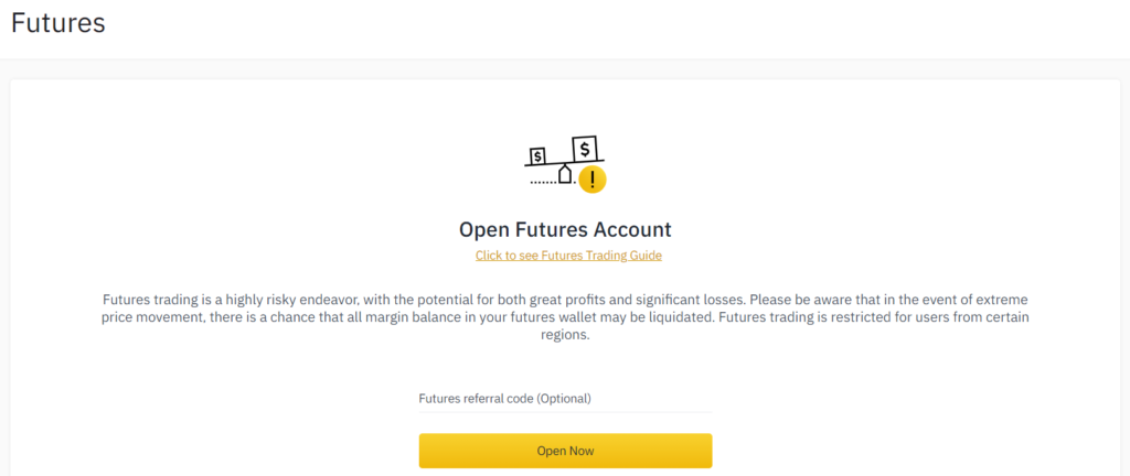 Open a Binance Futures account