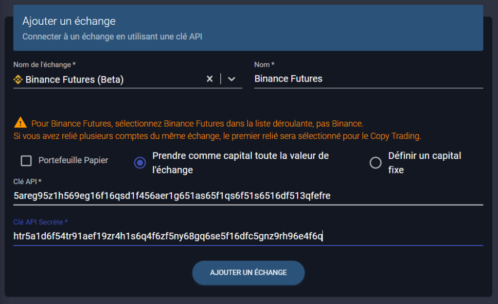 ajouter binance futures à wall of traders par API