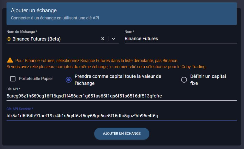 ajouter binance futures à wall of traders par API